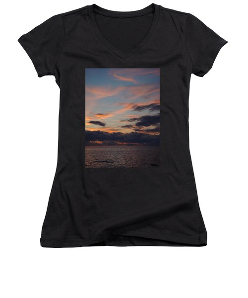 Women's V-Neck T-Shirt (Junior Cut) featuring the photograph God's Evening Painting by Bonfire Photography