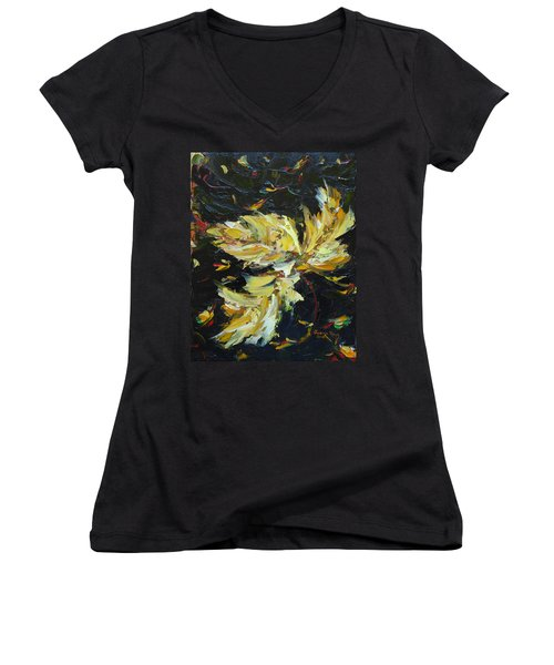 Women's V-Neck T-Shirt featuring the painting Golden Flight by Judith Rhue