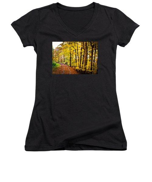 Women's V-Neck T-Shirt (Junior Cut) featuring the photograph Golden Rails by Sara Frank