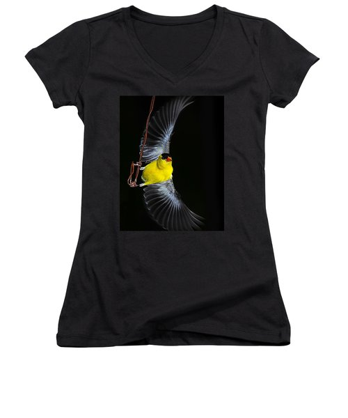 Women's V-Neck T-Shirt (Junior Cut) featuring the photograph Goldfinch High Wire Act by Randall Branham