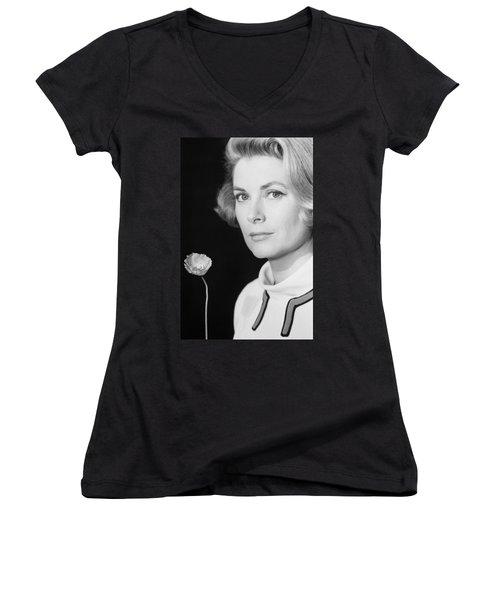 Grace Kelly (1928-1982) Women's V-Neck T-Shirt (Junior Cut) by Granger
