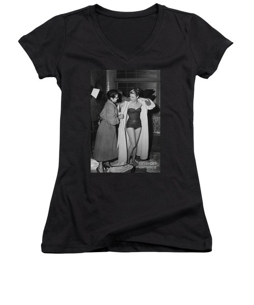 Grace Kelly  Women's V-Neck T-Shirt (Junior Cut) by Photo Researchers