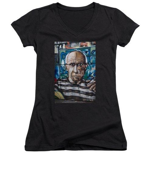 Women's V-Neck T-Shirt (Junior Cut) featuring the digital art Graffii Alley by Carol Ailles
