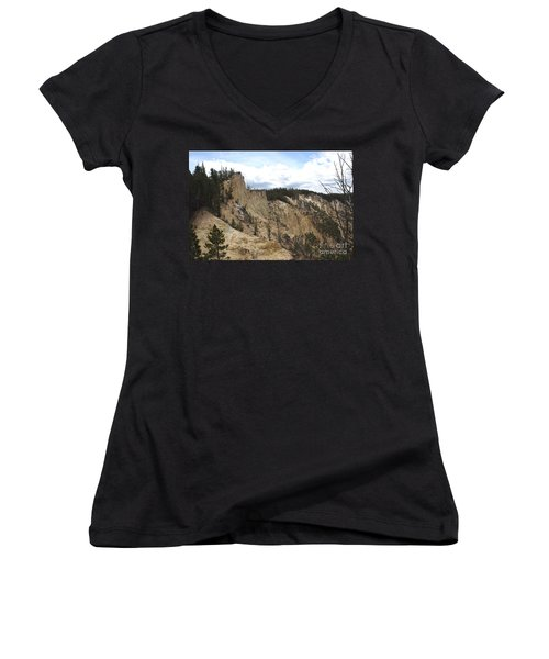 Grand Canyon Cliff In Yellowstone Women's V-Neck T-Shirt (Junior Cut) by Living Color Photography Lorraine Lynch