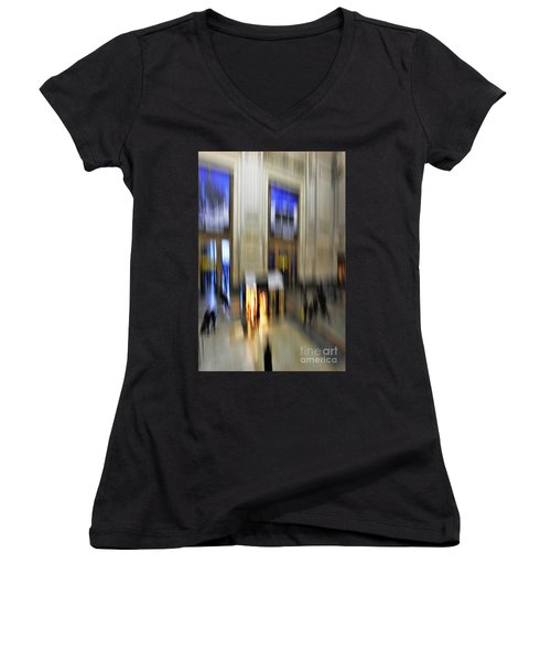 Women's V-Neck T-Shirt (Junior Cut) featuring the photograph Grand Central Station Italian Style by Andy Prendy