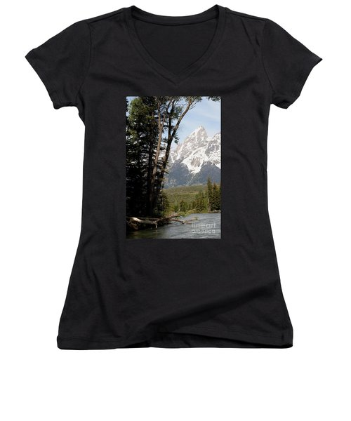 Grand Tetons Vertical Women's V-Neck T-Shirt (Junior Cut) by Living Color Photography Lorraine Lynch