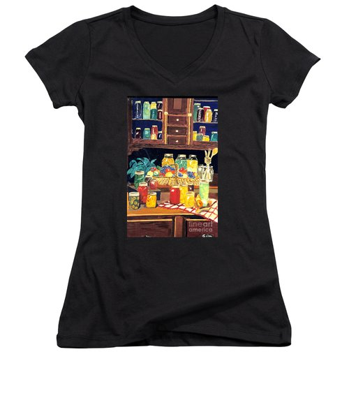 Women's V-Neck T-Shirt (Junior Cut) featuring the painting Granny's Cupboard by Julie Brugh Riffey
