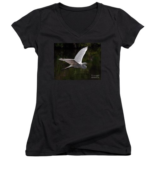 Great Egret Flying Women's V-Neck