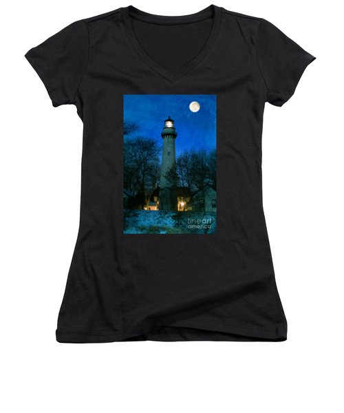 Grosse Point Lighthouse Before Dawn Women's V-Neck T-Shirt