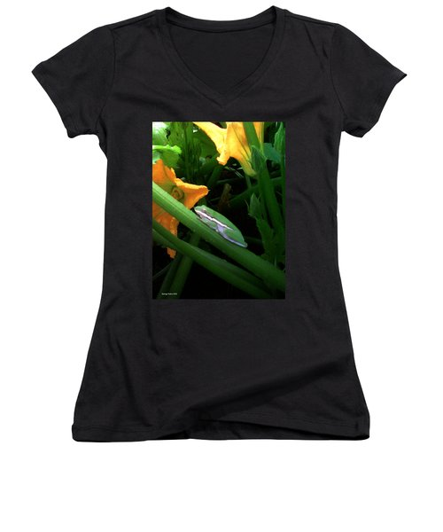 Women's V-Neck T-Shirt (Junior Cut) featuring the photograph Guardian Of The Zucchini by George Pedro