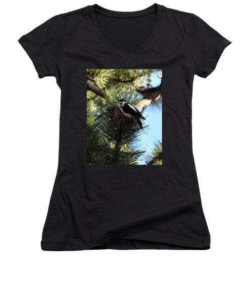 Hairy Woodpecker On Pine Cone Women's V-Neck