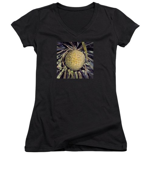 Hala Fruit Women's V-Neck T-Shirt (Junior Cut) by Andrew Drozdowicz