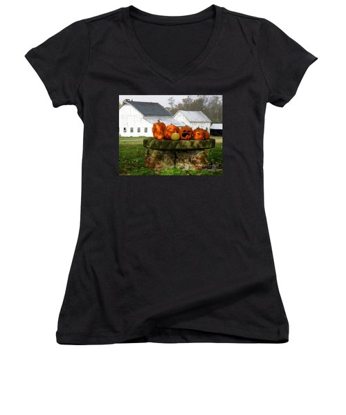 Halloween Scene Women's V-Neck T-Shirt (Junior Cut) by Lainie Wrightson