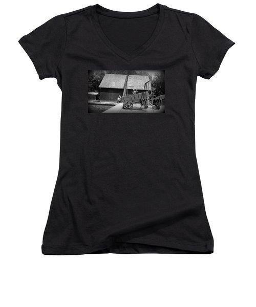 Women's V-Neck T-Shirt (Junior Cut) featuring the photograph Harvest by Bonfire Photography