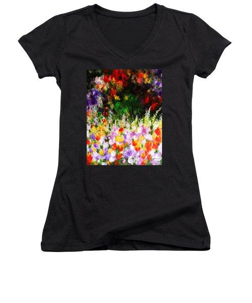 Heavenly Garden Women's V-Neck T-Shirt (Junior Cut) by Kume Bryant