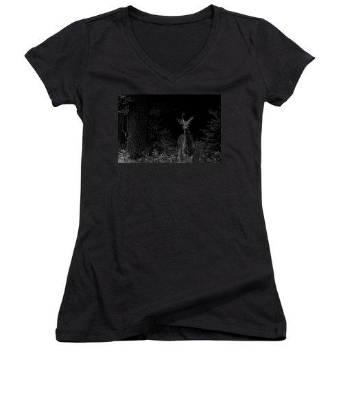 Women's V-Neck T-Shirt (Junior Cut) featuring the photograph Hello Deer by Cheryl Baxter