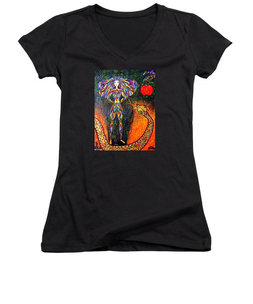 Hey Eve Wanna Play With Me Women's V-Neck T-Shirt (Junior Cut) by Marie Schwarzer