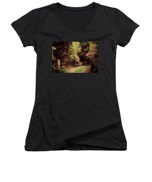 Women's V-Neck T-Shirt (Junior Cut) featuring the photograph Hidden Garden by Marilyn Wilson