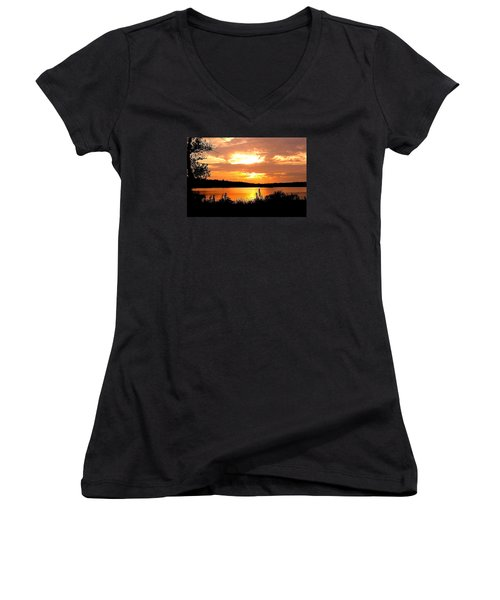 Horn Pond Sunset 2 Women's V-Neck T-Shirt