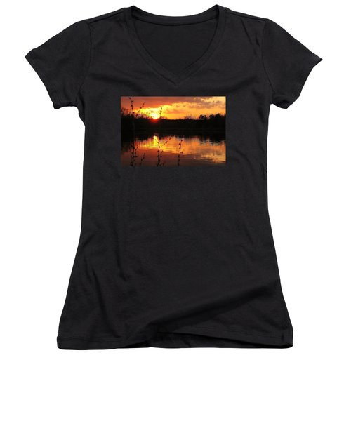 Horn Pond Sunset 8 Women's V-Neck T-Shirt