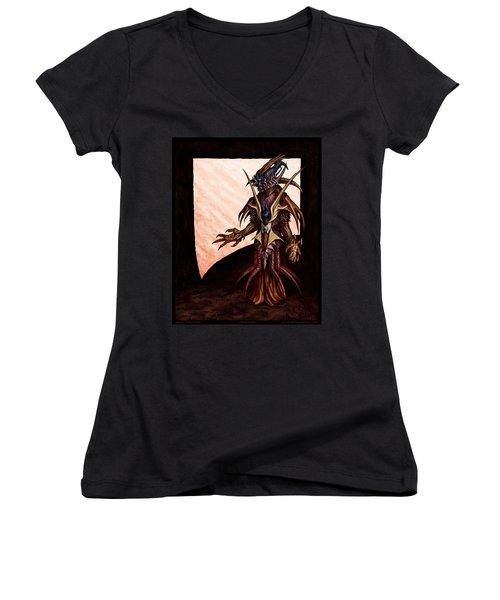 Hornedhead Women's V-Neck T-Shirt (Junior Cut) by Tony Koehl