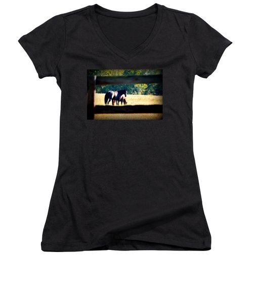 Women's V-Neck T-Shirt (Junior Cut) featuring the photograph Horse Photography by Peggy Franz