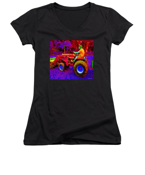 Women's V-Neck T-Shirt (Junior Cut) featuring the photograph Hot Afternoon On A John Deere Tractor by George Pedro