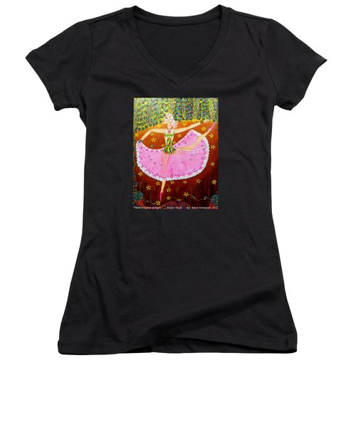 I Want To Dance All Night. Women's V-Neck T-Shirt (Junior Cut) by Marie Schwarzer