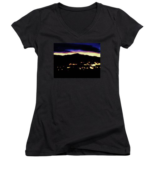 Women's V-Neck T-Shirt (Junior Cut) featuring the photograph Impressionistic Pikes Peak by Clarice  Lakota