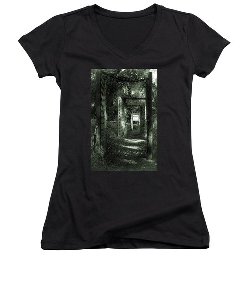 Women's V-Neck T-Shirt (Junior Cut) featuring the photograph Into The Butterfly Garden Green by DigiArt Diaries by Vicky B Fuller
