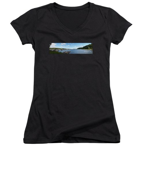 Women's V-Neck T-Shirt (Junior Cut) featuring the photograph Irondequoit Bay Panorama by William Norton