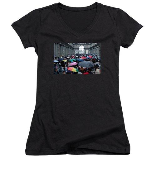 It Rains Women's V-Neck T-Shirt (Junior Cut) by Vivian Christopher
