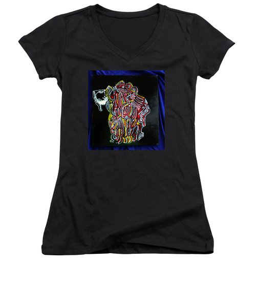 Women's V-Neck T-Shirt (Junior Cut) featuring the painting Japanese Opera - Noh by Gloria Ssali