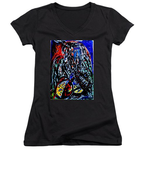 Women's V-Neck T-Shirt (Junior Cut) featuring the painting Jesus Meets Mary On Calvary by Gloria Ssali