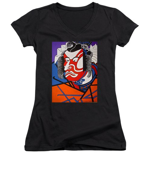 Kabuki Actor 2 Women's V-Neck T-Shirt (Junior Cut) by Stephanie Moore