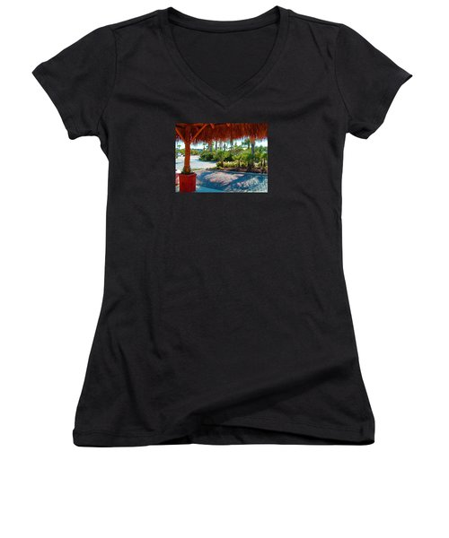 Kemah Boardwalk Women's V-Neck T-Shirt (Junior Cut) by Fred Jinkins