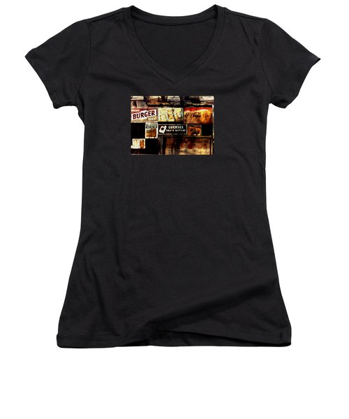 Women's V-Neck T-Shirt (Junior Cut) featuring the photograph Kentucky Shed Ad Signs by Tom Wurl