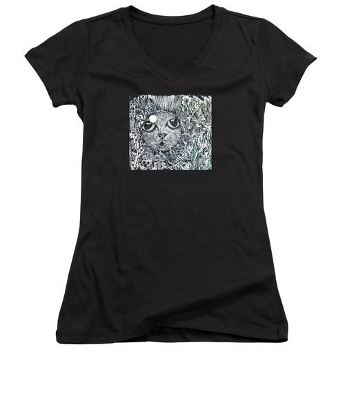 Cat In A Fish Bowl Women's V-Neck (Athletic Fit)