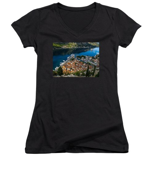Women's V-Neck T-Shirt (Junior Cut) featuring the photograph Kotor Montenegro by David Gleeson