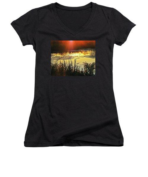 Women's V-Neck T-Shirt (Junior Cut) featuring the photograph Lacassine Sundown by Lizi Beard-Ward