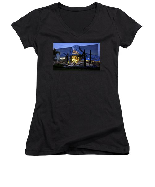Women's V-Neck T-Shirt (Junior Cut) featuring the photograph Lady In The Window by David Lee Thompson