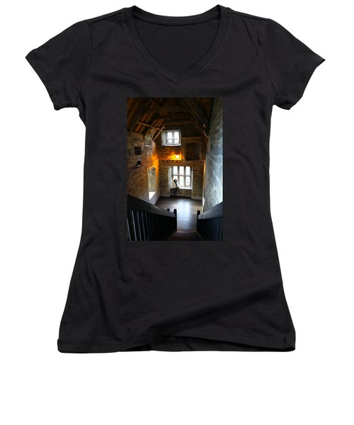 Women's V-Neck T-Shirt (Junior Cut) featuring the photograph Lady In Waiting  by Charlie and Norma Brock