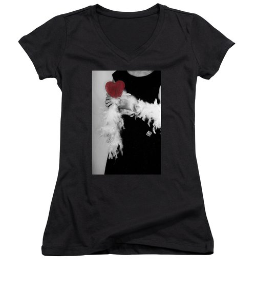 Lady With Heart Women's V-Neck T-Shirt