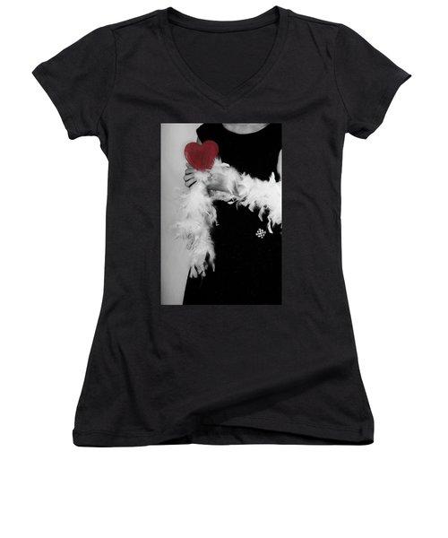 Lady With Heart Women's V-Neck T-Shirt (Junior Cut) by Joana Kruse