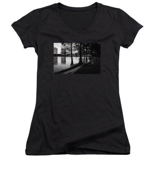 Women's V-Neck T-Shirt (Junior Cut) featuring the photograph Lake Eola Water Edge by Lynn Palmer