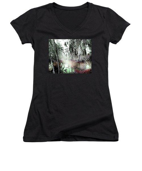 Women's V-Neck T-Shirt (Junior Cut) featuring the photograph Lake Martin Swamp by Lizi Beard-Ward