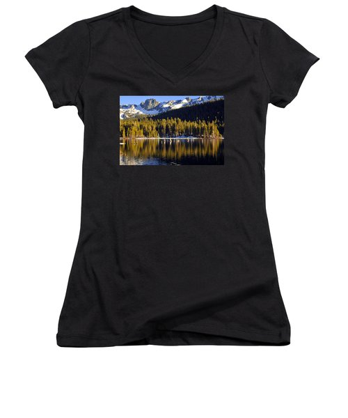 Women's V-Neck T-Shirt (Junior Cut) featuring the photograph Lake Mary Reflections by Lynn Bauer