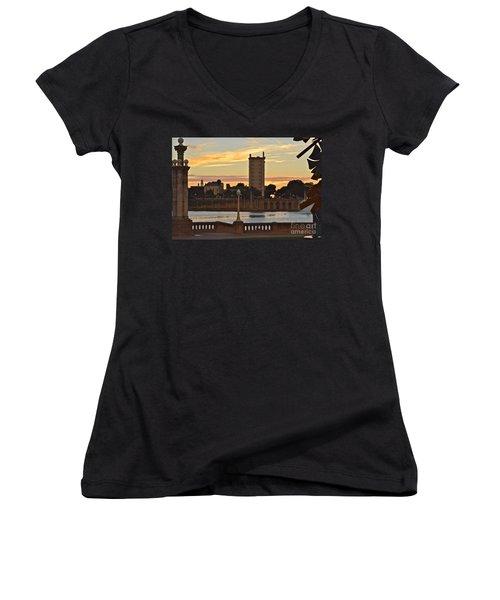 Women's V-Neck T-Shirt (Junior Cut) featuring the photograph Lake Mirror Sunset by Carol  Bradley