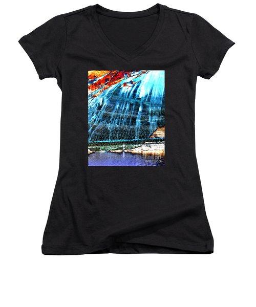 Lake Powell Reflection Women's V-Neck T-Shirt (Junior Cut) by Rebecca Margraf