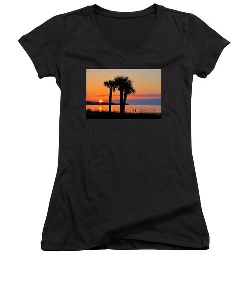 Women's V-Neck T-Shirt (Junior Cut) featuring the photograph Land Of Heart's Desire by Jan Amiss Photography